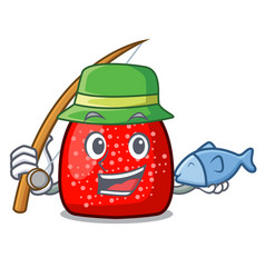 fishing gumdrop mascot cartoon style vector image