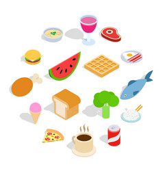 food icons set isometric 3d style vector image