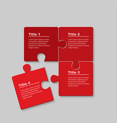 four pieces puzzle jigsaw squares infog raphic vector image