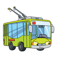 Funny small trolleybus with eyes vector