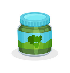 Glass jar of natural baby food vegetable puree vector