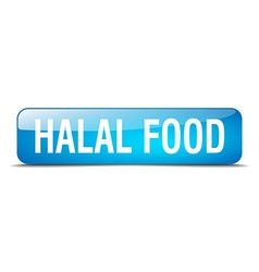 halal food blue square 3d realistic isolated web vector image