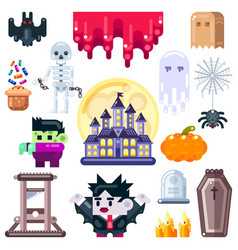 Halloween set isolated on white background funny vector