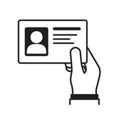 hand holding id card vector image