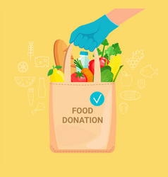 Hand in gloves with bag full donation food vector