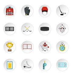 Hockey set flat icons vector