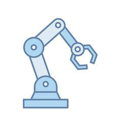 Industrial robotic arm color icon vector