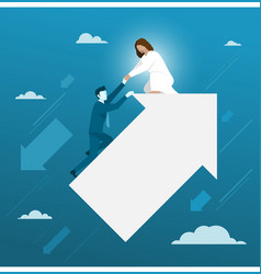 Jesus helping businessman from falling down vector