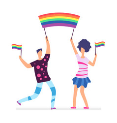 lgbt parade people holding rainbow flags man and vector image