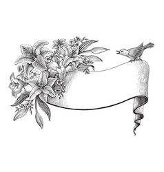 lily flowers hand drawing vintage clip vector image