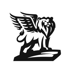lion with wings emblem on white background vector image