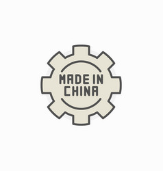 Made in china gear colored icon vector