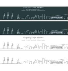 malaga single line skyline banner vector image