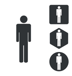 Man icon set monochrome vector