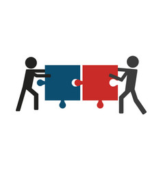 Men pulling jigsaw pictogram vector