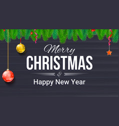Merry christmas and new year banner with fir vector