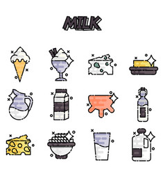 milk production cartoon concept icons vector image