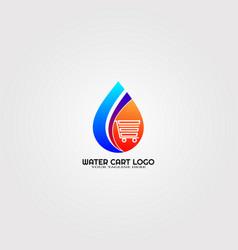 Modern droplet logo template with cart logo vector