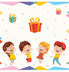 of kids and gift boxes vector image