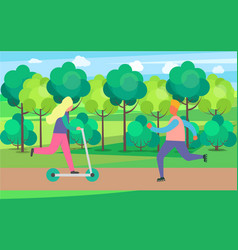 people on skate rollers and kick scooter in park vector image
