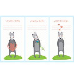 romantic greeting card with cute dogs vector image