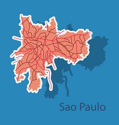 Sao paulo brazil sticker map isolated vector