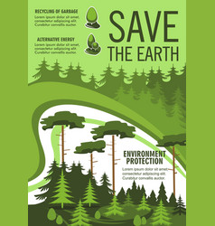 Save earth poster with green nature ecology tree vector