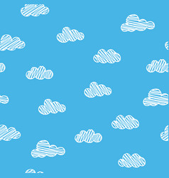 scribble clouds on blue background seamless vector image