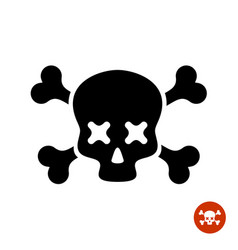 Scull and crossbones logo with x eyes vector