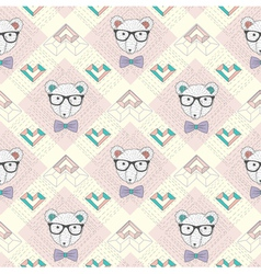 Seamless pattern with hipster polar bear and heart vector