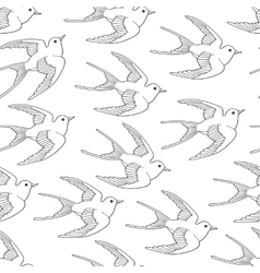 Seamless pattern with swallow bird flying hand vector