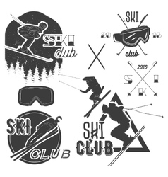 Set of mountain skiing labels in vintage vector
