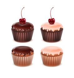 set of muffins vector image vector image