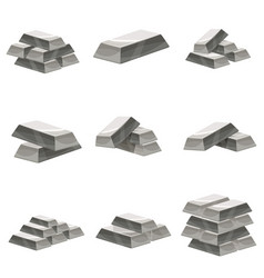 set of silver bars icon cartoon style vector image