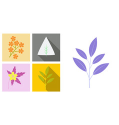 Set of treesleaves and flowers in flat concepts vector