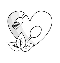 silhouette heart with spoon and fork inside with vector image