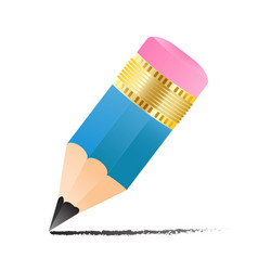 simple small pencil icon with drawn line isolated vector image