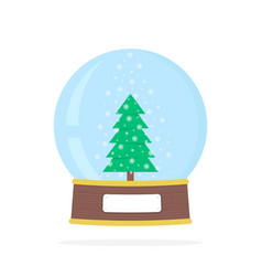 simple snow globe with xmas tree vector image