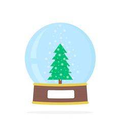 Simple snow globe with xmas tree vector