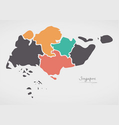 Singapore map with states and modern round shapes vector