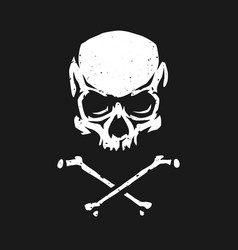 skull and crossbones in grunge style on a dark vector image