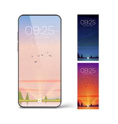 Smartphone lock screen with landscape vector