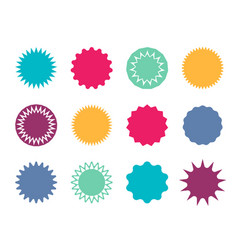 Starburst badge circle stickers with jagged edges vector