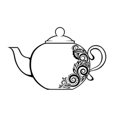 Teapot decorated black and white floral ornament vector