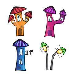the different cartoon houses on a vector image
