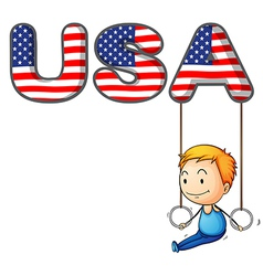 The USA letters with a young boy playing vector