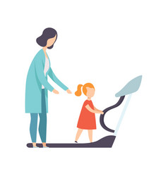 Therapist working with little girl training on vector