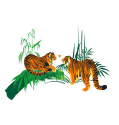 Two tigers in love looking at each other vector