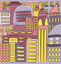 urban modern landscape hand drawn colorful line vector image