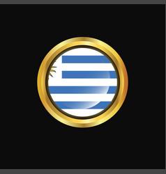 Uruguay flag golden button vector